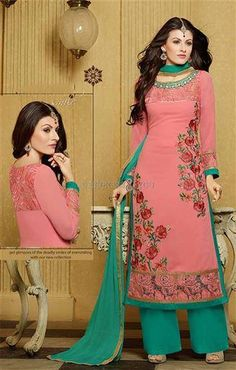 452075 Pink and Majenta color family Party Wear Salwar Kameez in Faux Georgette fabric with Lace,Machine Embroidery,Resham work . Pakistani Suits, Pakistani Dresses, Punjabi Suits, Indian Sarees, Designer Salwar Suits, Designer Dresses, Designer Wear, Online Shopping, Green Suit