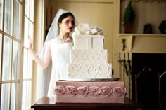 #WW Everday #Bridal #Blush #Rose #Custom #Couture #CakeStand #Cake It Up Couture Cake Stands Make your #Wedding or Bridal #Shower #Guests Swoon #Delicate Roses adorn over #Satin order here: www.cakeitupcakestands.com or call toll free 866-484-9515