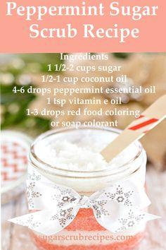 Peppermint Sugar Scrub Recipe-body scrub recipe. Homemade Peppermint Sugar Scrub, Homemade Face Mask For Acne, Homemade Blackhead Remover, Sugar Scrub Recipe.