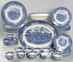 wedgewood china | Romantic England-Blue by Wedgwood China – 44-Piece Set Sold!