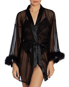In Bloom by Jonquil Feather-Trim Mesh Robe Women - Bloomingdale's Pretty Lingerie, Black Lingerie, Beautiful Lingerie, Lingerie Sleepwear, Black Mesh, World Of Fashion, Night Gown, Mini, Sexy