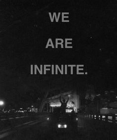 """""""We are infinite."""" The Perks of Being a Wallflower."""