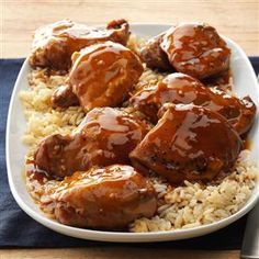 Teriyaki Chicken Thighs Recipe -Chicken, rice and sweet-salty sauce create an entree that's packed with Asian flavor. Your family will love this moist and tender meal. —Gigi Miller, Stoughton, Wisconsin