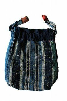 Japanese boro patchwork hand bag/natural indigo by SASAKIYOHINTEN