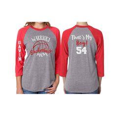 Glitter That's My Boy Basketball Mom Baseball Shirt|Customized 3/4 Sleeve Raglan Basketball Mom Shirt by GavinsAllyeDesigns on Etsy