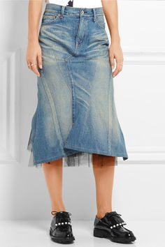 Junya Watanabe | Denim and tulle midi skirt | NET-A-PORTER.COM