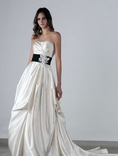 Henry Roth Strapless A-Line Wedding Dress with Basque Waist in Satin. Bridal Gown Style Number:32205569