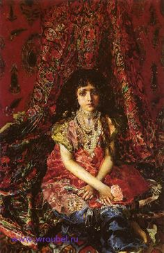 Vrubel Mikhail Alexandrovich - Girl With Persian Carpet, 1886