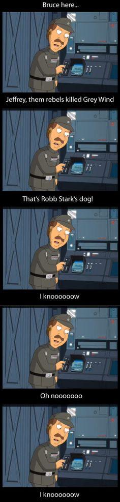 Bruce from Family Guy- Game of Thrones Meme, Oh noooooooo