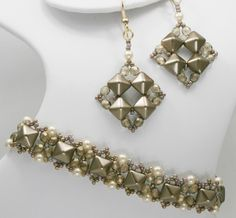 Deb Roberti's Pinnacle Bands and Any Bead Earrings done in Sand for Spring 2014