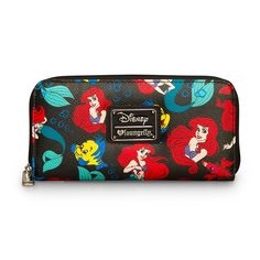 Disney The Little Mermaid Ariel & Flounder Classic Print Pebble Zip Around Women's Wallet