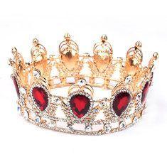 Bride Ruby Red Sparkling Crystal Rhinestone Crown Gold King Queen Tiara Wedding Party Headpiece