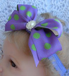 Purple and green polka dot bow headband by Joysheartcreations, $6.00