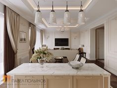 Фото дизайн интерьера кухни-гостиной из проекта «Дизайн четырехкомнатной квартиры в стиле Ар-деко, ЖК Привилегия, 172 кв.м.»