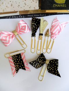 Gold paper clips, gold planner supplies, bow paperclips, ribbon paperclips…