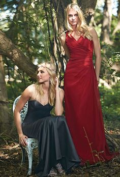 Impression Bridal. Style 20213 (pictured at left) A simple a-line chiffon floor length gown features a v neckline and back; top of the dress has ruching down to the hip and pleats on one side.  ��Style 20224 (pictured at right) A charming mermaid floor length satin gown features a sweetheart bodice over an illusion curved beaded bateau neckline that flows into the back.
