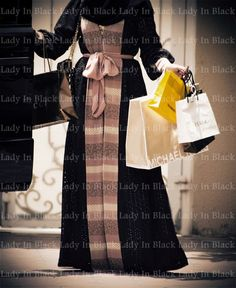 * خليجية *: Dubai Abaya Trends - gold satin band and ribbon