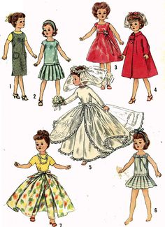 Vintage Doll Clothes PATTERN 2744 for 10 in Little by BlondiesSpot, $9.99