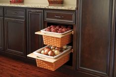 Baskets - Pull-Out Chrome Wire or Wicker Storage Baskets for Base Cabinets Organization at Kitchen Accessories Unlimited New Kitchen, Kitchen Decor, Kitchen Design, Kitchen Ideas, Kitchen Furniture, Furniture Design, Quirky Kitchen, Pantry Ideas, Kitchen Stuff