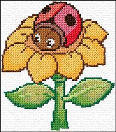 ladybug on flower cross stitch Cross Stitch Letter Patterns, Cross Stitch Letters, Cross Stitch Cards, Simple Cross Stitch, Cross Stitch Baby, Cross Stitch Designs, Cross Stitching, Cross Stitch Embroidery, Plastic Canvas Crafts