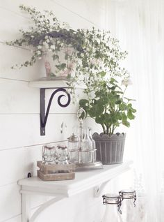 Love the shelf support detail Beautiful Gardens, Beautiful Flowers, Antique Chandelier, Outdoor Living, Outdoor Decor, Cottage Design, Shabby Chic Decor, Home And Living, Indoor Plants