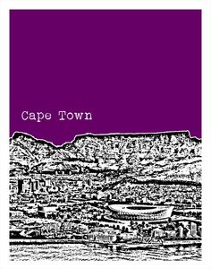 Cape Town Skyline Poster Art Print South Africa by AnInspiredImage