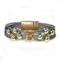 Personalized Initial B Leather Bracelet - Choice of leather and bead colors. #wrapyourstyle #initialjewelry #initialbracelets #initialleatherbracelets
