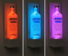 Absolut Vodka Bottles | Absolut Vodka Wall Mount Vodka Color Changing LED Remote Control Eco ...