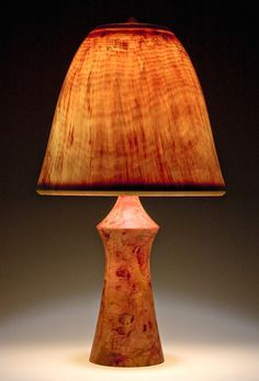 'Torso' Base made of Mahogany, with Bell Shade Wood Lamp Base, Table Lamp Wood, Wooden Lamp, Table Lamps, Small Woodworking Projects, Woodworking Bench Plans, Lathe Projects, Custom Woodworking, Teds Woodworking
