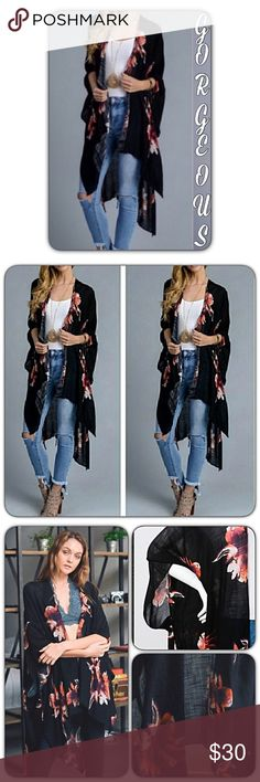 """Boho Lightweight Black Floral Kimono Wrap Coverup Wrap yourself in bohemian style & comfort in this stunning chic floral kimono. Open front with arm holes. Pair with tank & skinnies or works perfect as a swim beach cover up. Available in black with rust floral print. 38"""" x 46"""" 100% viscose. One Size Fits Most Accessories Scarves & Wraps"""