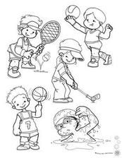 For kids, sports coloring pages, theme sport, art for kids, worksheet Sports Coloring Pages, Colouring Pages, Coloring For Kids, Coloring Sheets, Pinterest Template, Theme Sport, Sports Clips, Sports Day, Kids Sports