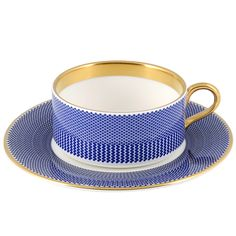 BENDAY COBALT TEACUP AND SAUCER -  Designed by Marcus Steel