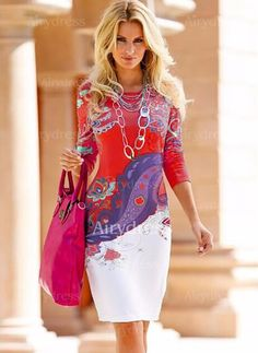 Dress - $20.90 - Polyester Floral Long Sleeve Knee-Length Casual Dresses (1955124648)