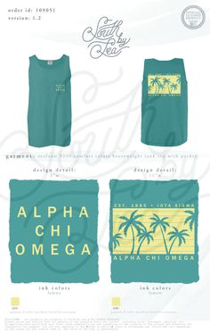Alpha Chi Omega | AXO | Palm Trees T-Shirt Design | South by Sea | Greek Tee Shirts | Greek Tank Tops | Custom Apparel Design | Custom Greek Apparel | Sorority Tee Shirts | Sorority Tanks | Sorority Shirt Designs