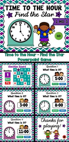 Engage students with this fun, interactive time game. In this game, student have to find 5 hidden behind 25 boxes. Play in teams or individually. Students must give the correct time for each clock in order to choose a box to find a star. There are 25 ques Time To The Hour, Powerpoint Games, Correct Time, Find 5, Teacher Helper, Math Groups, Time Games, Primary Maths, Teaching Materials