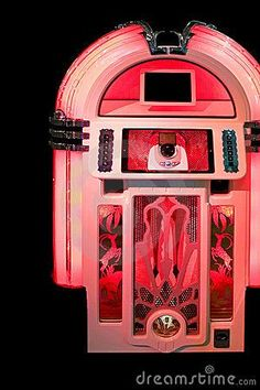 Image detail for -Home > Stock Photos: Jukebox lit in red Vintage Music, Vintage Box, Rock And Roll, Antique Record Player, Music Machine, Live Band, Phonograph, Back In The Day, Good Old