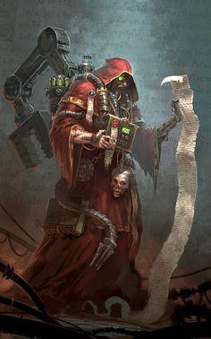 Adeptus Mechanicus Adept exploring the mysteries of the Cult Mechanicus W40K