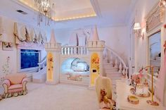 Luxury Kids Bedroom With Large Castle Bed With Stair And Slide : Beautiful Castle Bed For Your Kids Bedroom Luxury Kids Bedroom, Luxury Rooms, Luxurious Bedrooms, Girls Bedroom, Disney Themed Bedrooms, Bedroom Themes, Bedroom Decor, Dream Rooms, Dream Bedroom