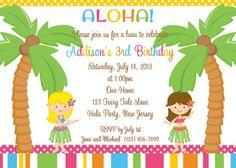 Invitation  Hula Party Personalized Custom by afairytalebeginning, $12.00