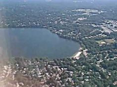 Take off and flying  over lake ronkonkoma