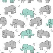 elephant // grey and mint kids nursery baby mint and grey baby print by andrea_lauren