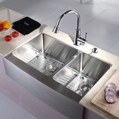 Best of both worlds, farm sink style with stainless!! Kraus 33-inch Farmhouse Apron Double-bowl Steel Kitchen Sink