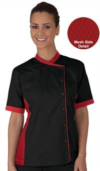 Purple Women's Mesh Side Panel Chef Coat - Snap Front Closure - 65/35 Poly/Cotton Fine Line Twill