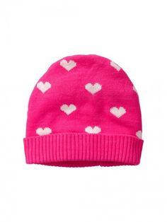 Gap Heart Knit Hat Pink Glo Neon Headwear and Accessory