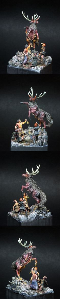 The Hunt (Screaming Antelope diorama) painted by Scott Hockley (Iacton)