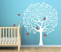 Cute Nursery decal for baby's room. Original tree wall decal sticker for baby nursery room