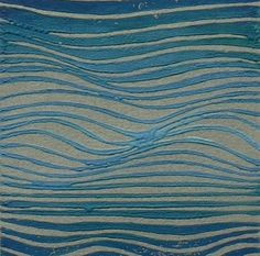 Waves linocut relief print