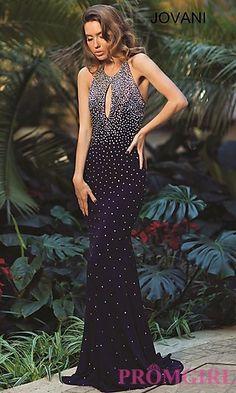 Beaded Jovani Long Open Back Prom Dress
