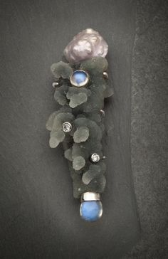 Divine Sparks series, drusy chalcedony, diamonds, moonstoned, pearl, silver by Elizabeth McDevitt