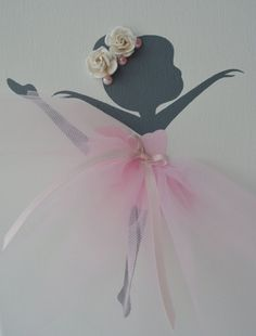 Bailarina infantil pared arte blanco rosado y gris. por FlorasShop